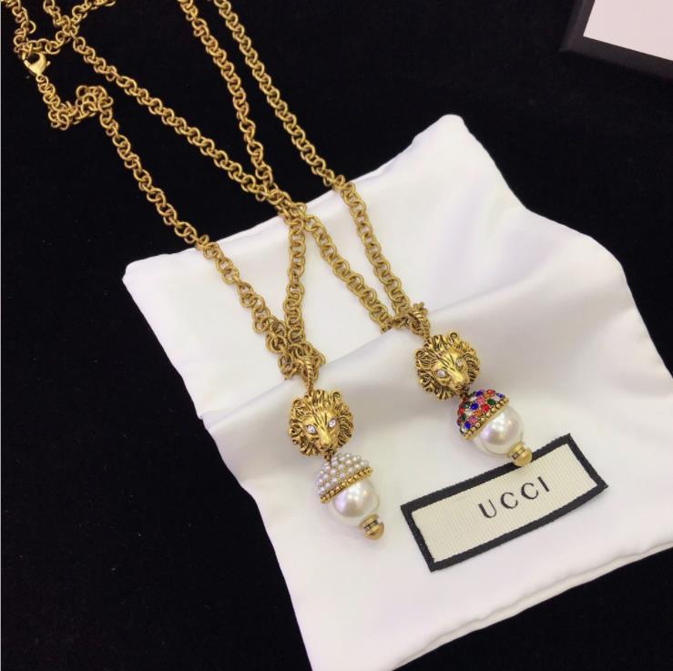Европа и Соединенные Штаты роскошь пользовательского нового женская моды жемчуг лев Ожерелье Seiko ожерелье цвета алмазы лев высокого качества
