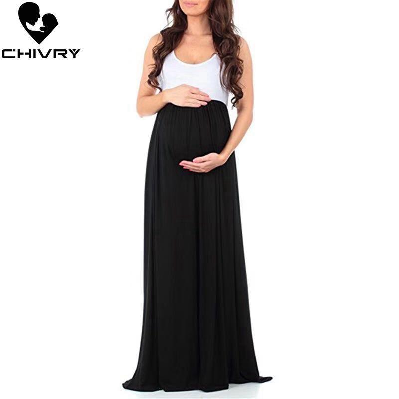 Chivry 2020 Nueva vestido de maternidad Ropa de embarazo sin mangas ocasional vestido largo maxi vestidos de mamá embarazadas Vestidos de Maternidad