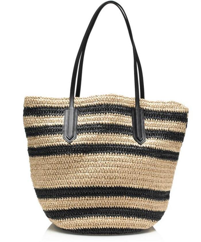 dokuma torbalar Tatile çıkma için saman balyası plaj saman büyü deri omuz çanta taşınabilir paket