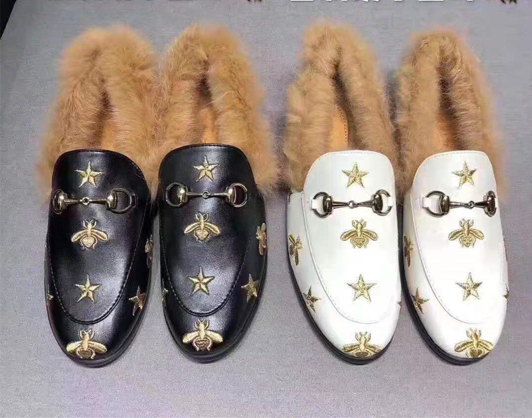 L'arrivée de nouveaux mocassins d'hiver avec le prince de luxe de femme de fourrure de lapin douce chaussures ville de Lofer avec sac à poussière boîte grande taille 34-46 D02