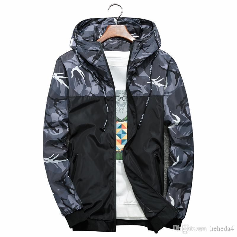 Les hommes Bomber Jacket mince Slim manches longues camouflage militaire Vestes à capuchon 2018 Windbreaker Zipper Outwear Armée Marque Vêtements