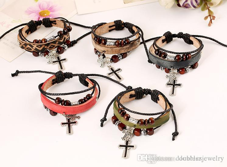 Factory direct European and American bead crossing, leather bracelet, whole net explosion, cross-border supply wholesale, leather bracelet