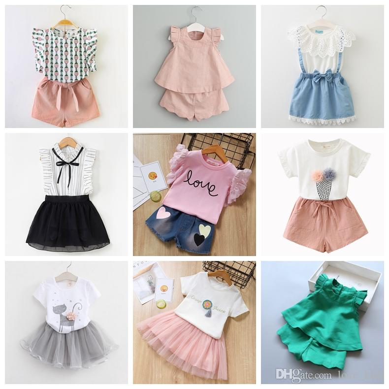 42 designs baby girls summer outfits T-Shirt with shorts or skirts 2pcs clothing set girl casul suit
