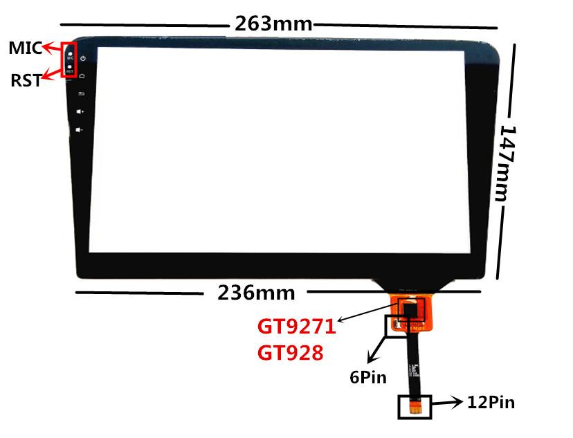 10.1 inch CTP-0398-R1 Capacitive Touch Digitizer for Volkswagen Car DVD GPS navigation multimedia Touch screen panel Glass