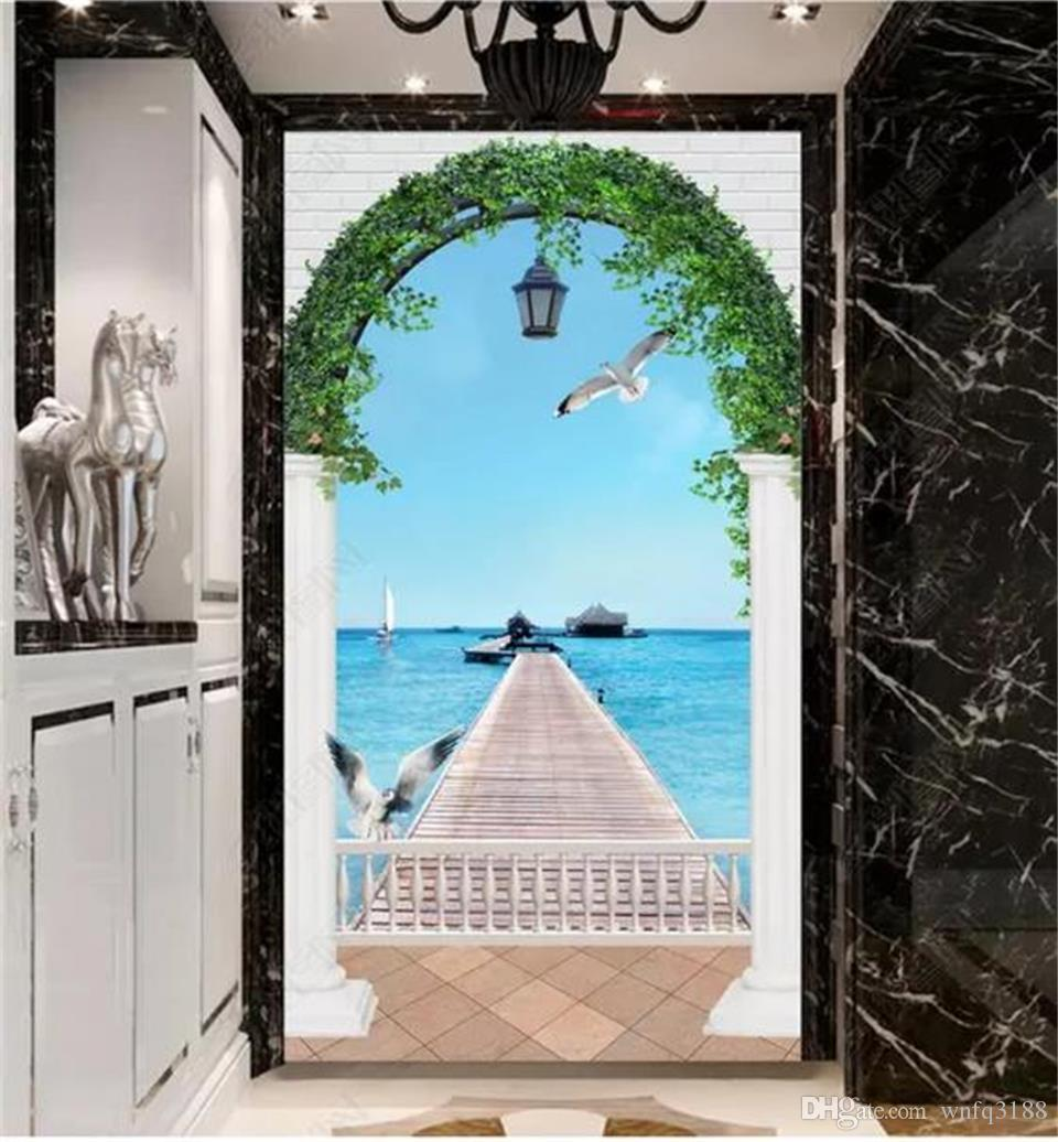 пользовательский размер 3d фото обои гостиная крыльцо римская колонна арки красивая картина море диван фон обои нетканые наклейки