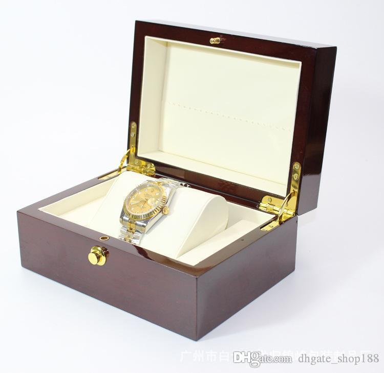 Коробка для часов Высококачественный Бизнес Подарочная Упаковка Коробка Soild Wood Часы Дисплей Коробка Пианино Лак Для Хранения Ювелирных Изделий Организатор