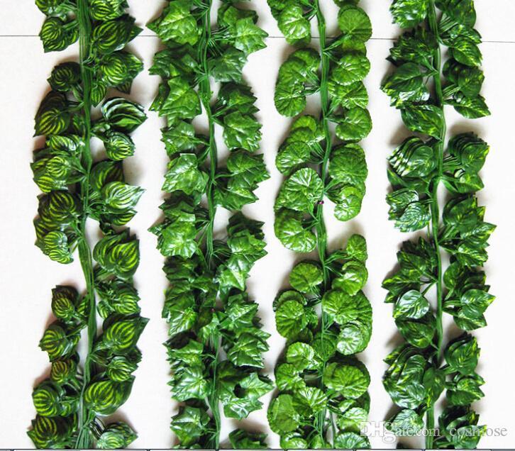 النباتات الاصطناعية الطويلة الحرير ورقة العنب اللبلاب الكرمة أوراق الشجر يترك في الهواء الطلق في الأماكن المغلقة الديكور الزفاف لى بعد