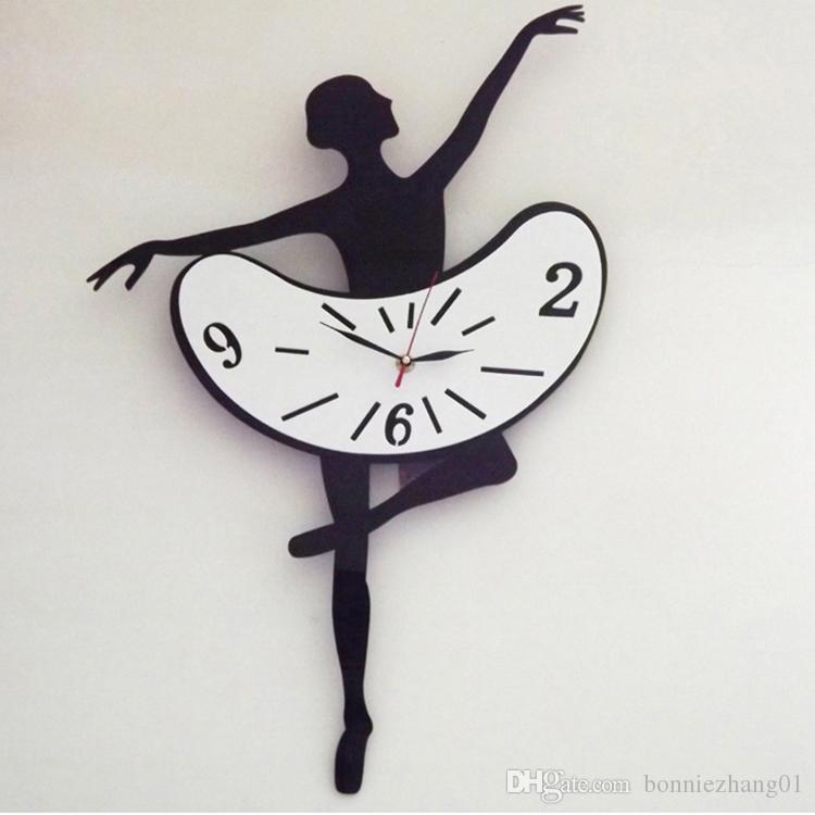 جديد وصول 3d راقصة ديكور المنزل الكوارتز diy ساعة الحائط الساعات ووتش غرفة المعيشة