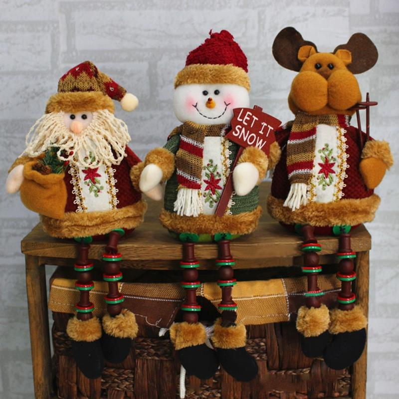 2017 New Design Christmas Decorations Sitting Father Christmas Santa Claus Snowman Figure Plush Toy Doll Party Tree