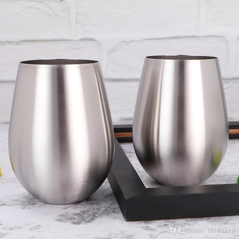 Vin Egg Tumbler 18 oz Tumbler Stemlees Beer Cup en acier inoxydable Tasse de café Voyage Tasse à une seule couche de verre de vin grande capacité Coquetier