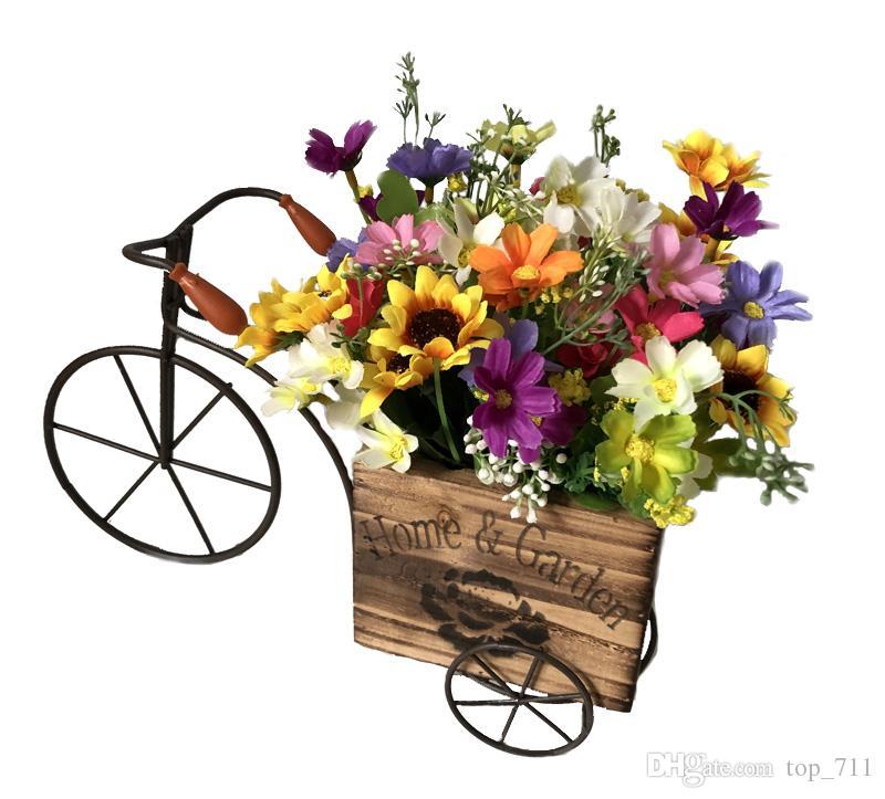 Compre Metal Jarrón De Bicicleta De Madera Con Margaritas Girasoles Flores Artificiales Navidad Decoración Para El Hogar Decoración Del Banquete De