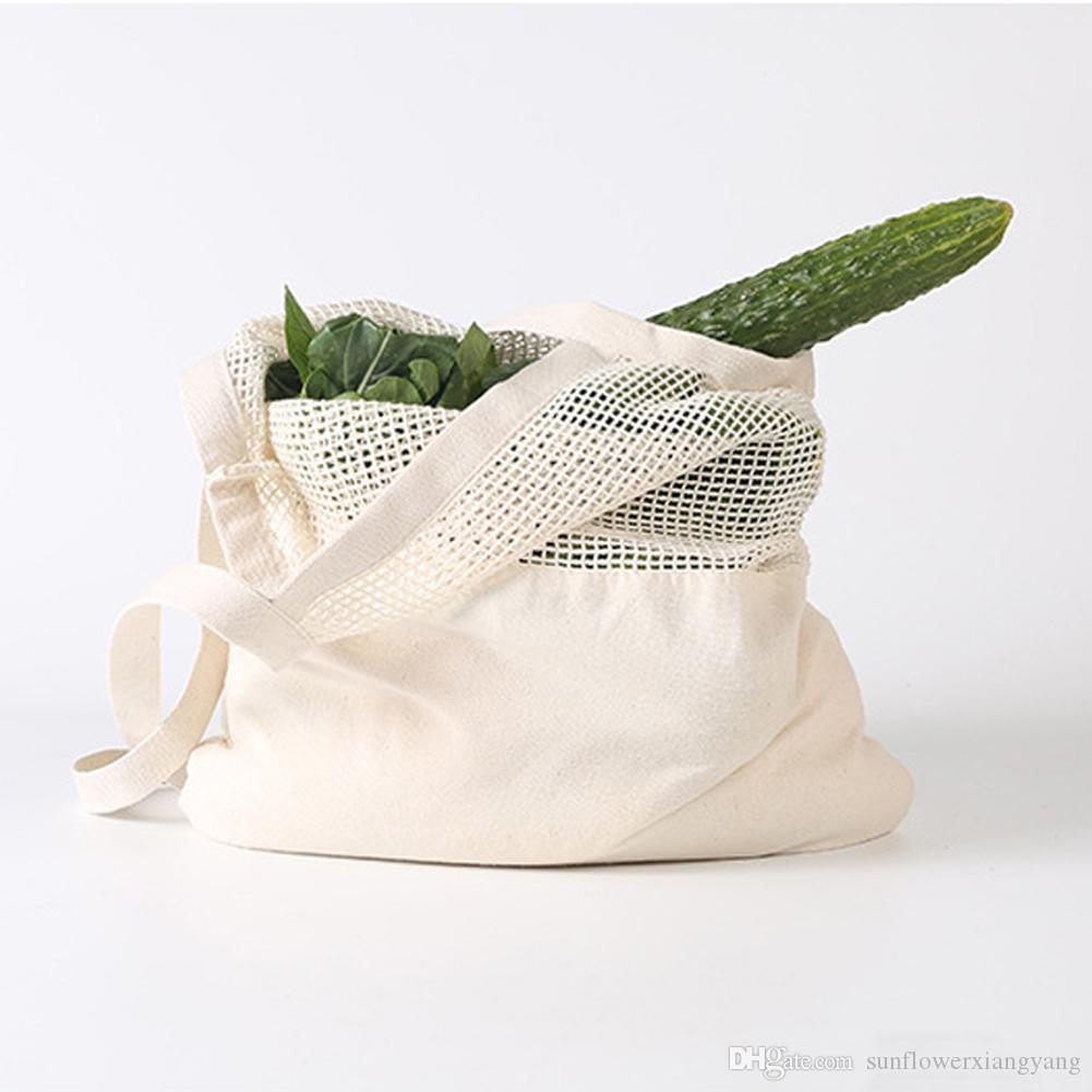 String Shopping sacchetto di drogheria delle donne del nuovo cotone grande capacità di stoccaggio del Tote della rete della maglia in tessuto riutilizzabili Borse