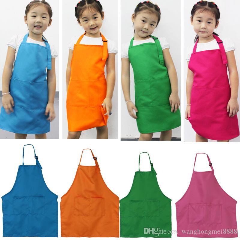 Nette Kinder Kinder Plain Schürzen Jungen Mädchen Küche Kochen Backen Malerei Kunst Lätzchen Schürzen Haushaltsreiniger