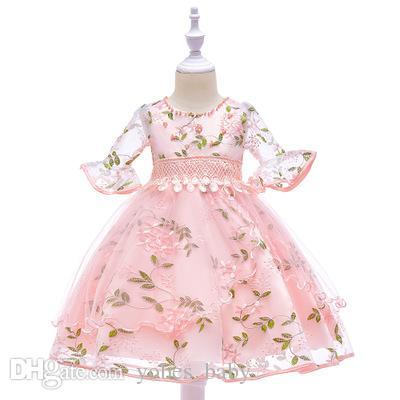 flower girl dresses embroidered gauze seventh trumpet sleeves princess dress children clothing baby girls dresses girls frocks