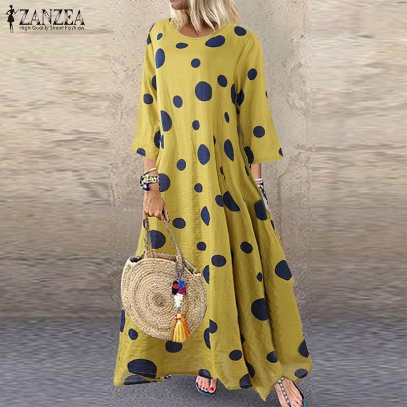 ZANZEA otoño 3/4 del lunar de larga impresa vestido de las mujeres de la vendimia de algodón de lino Vestidos Mujer Kaftan Vestido Vestido de tirantes Femme