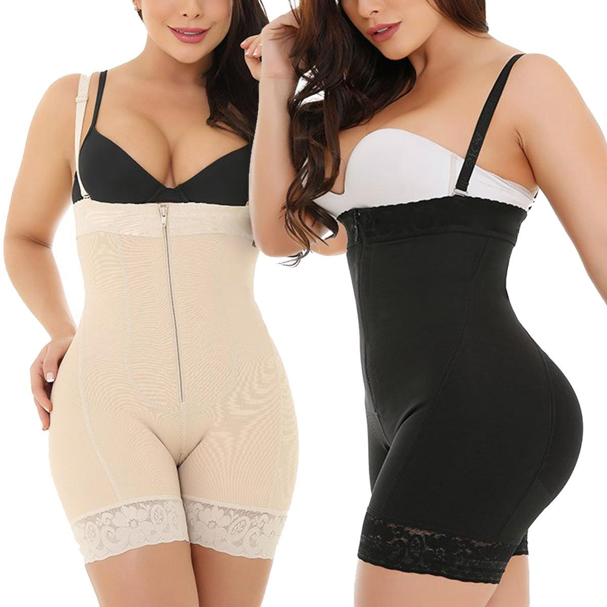 Más el tamaño 6XL la talladora del cuerpo que adelgaza la ropa interior de las mujeres de control de la panza transpirable Fajas del cordón atractivo Bodyshaper cremallera Negro Caqui