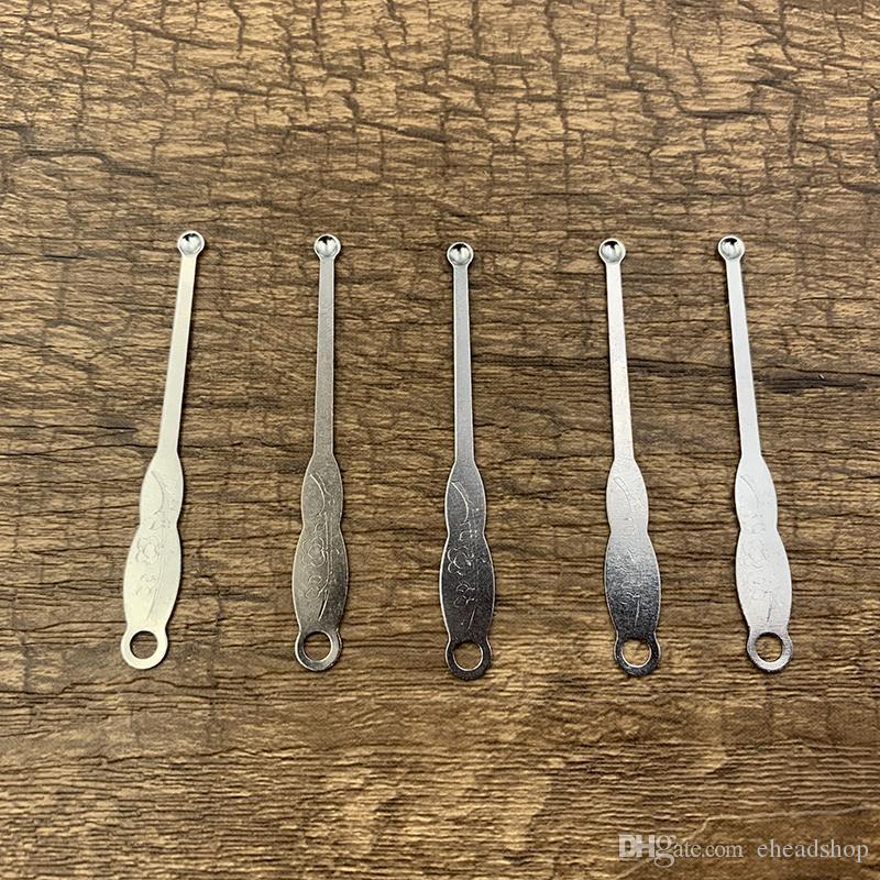 Acciaio inossidabile Snuff Spoon Sniffer Pippotto Pala scoop di metallo Polvere Earpick Picks Cera Olio Dabber Pipes Strumenti fumatori