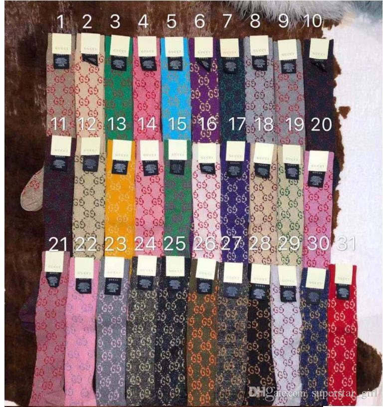 cotone sportiva calda design calze calzini per le donne 41 colori di marca delle signore Vintage lettera d'Oro filo Calzino Medio Stocking regalo S914