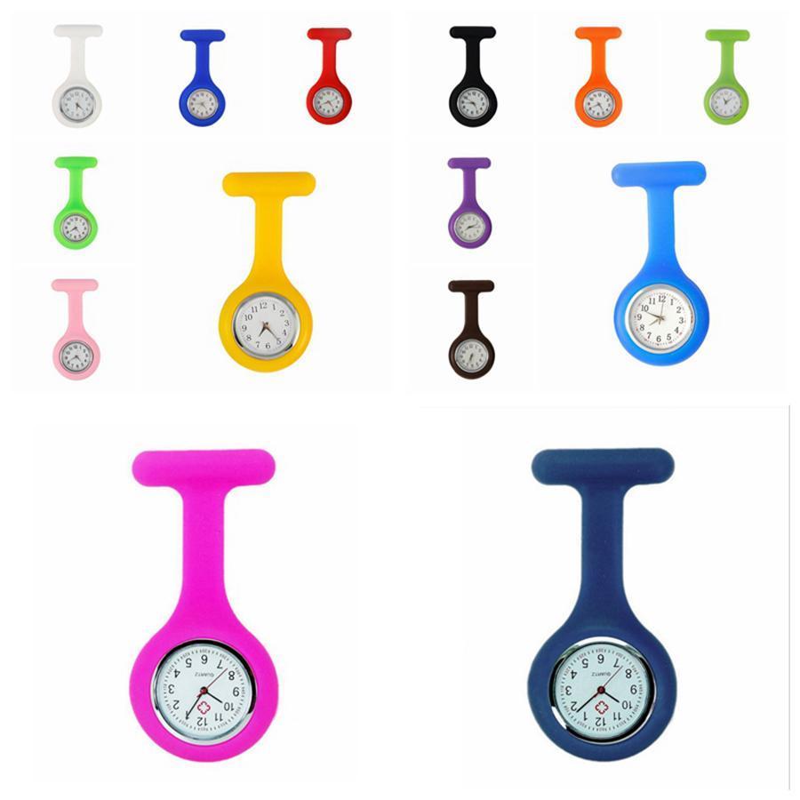 120pcs Förderung-Weihnachtsgeschenke Bunte Schwesternuhr Krankenschwesteruhr Taschenuhr Silikon-Abdeckung Krankenschwester Uhren-Party Favor RRA3103