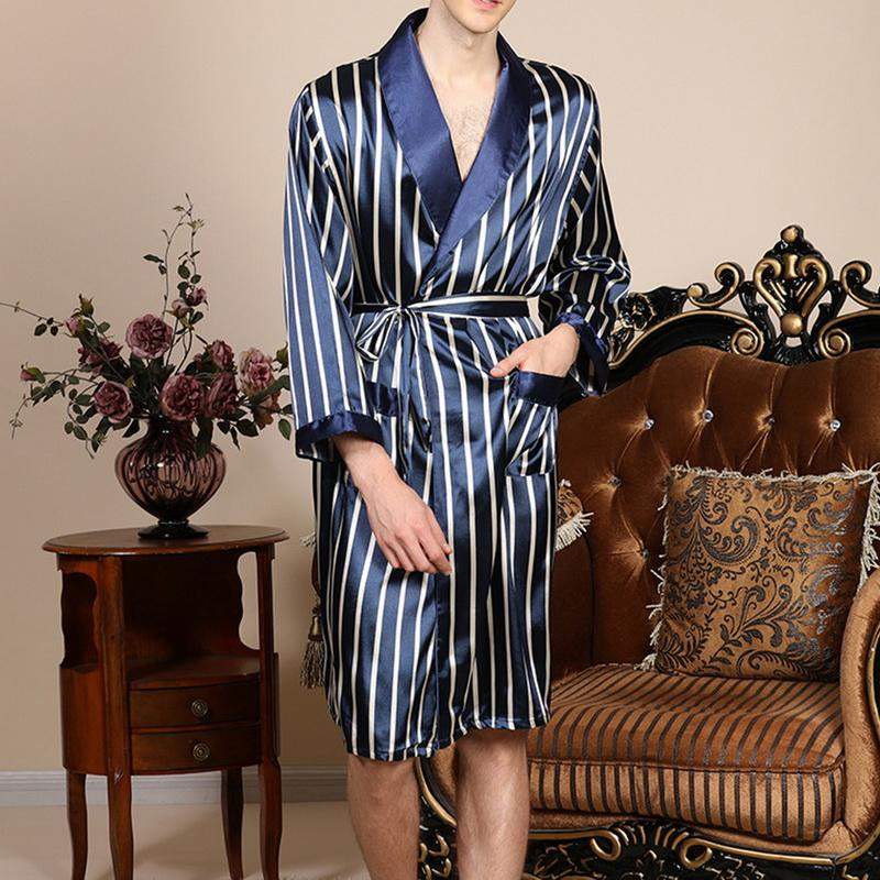 2020 Mode Printemps Hommes soie de nuit Ensembles satin Pyjama Robe rayée à manches longues Peignoir Kimono en soie nuit Robe de chambre