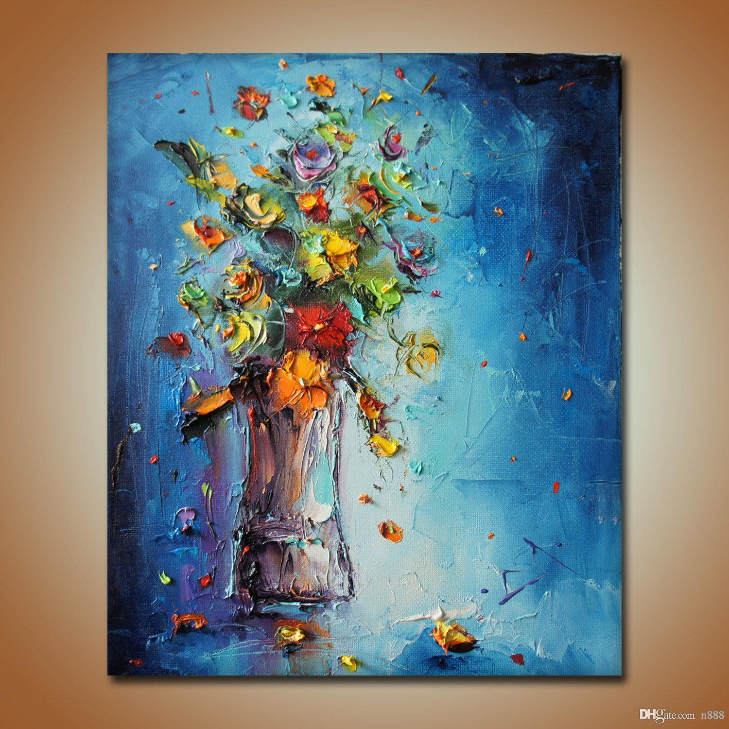 Modern Abstract Hand-Painted & HD Canvas Print Art Oil Painting Flower,Home Wall Decor on High quality Thick canvas Multi Sizes f01