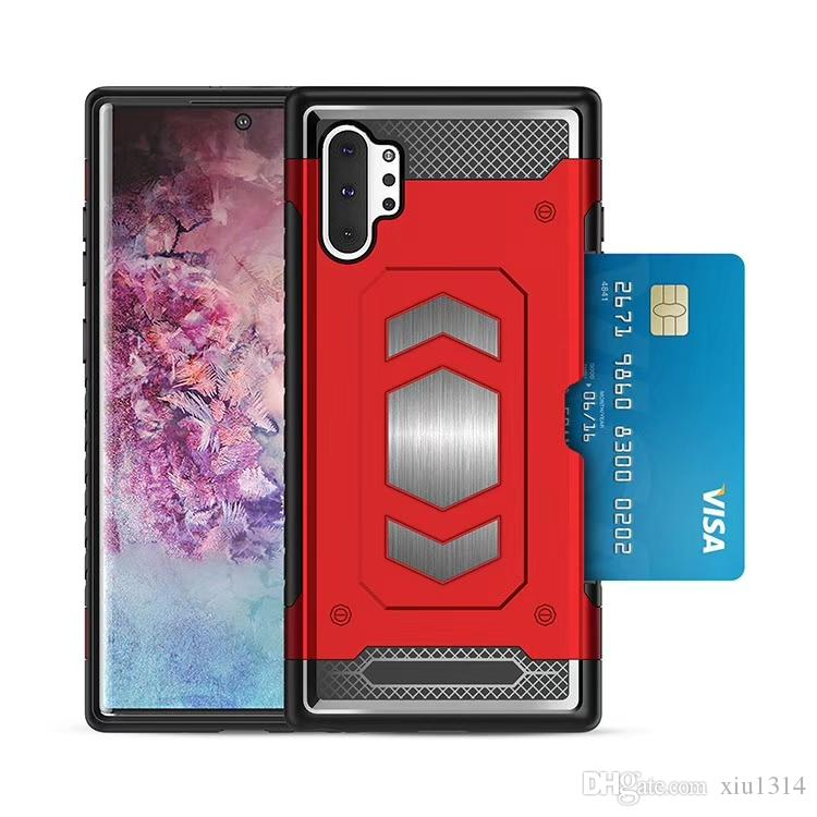 Para la nota 10 Plus 9 S10 S9 S8 de lujo a prueba de golpes sostenedor de la cubierta magnética para A10 A30 A40 A50 A70 Con ranura para tarjetas