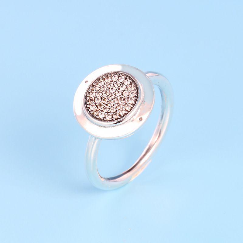 Kadınlar Düğün Hediye Güzel Avrupa Takı için Kristal Pan Yüzüklerin İle Yeni Otantik 925 Gümüş açacağı Logo İmza