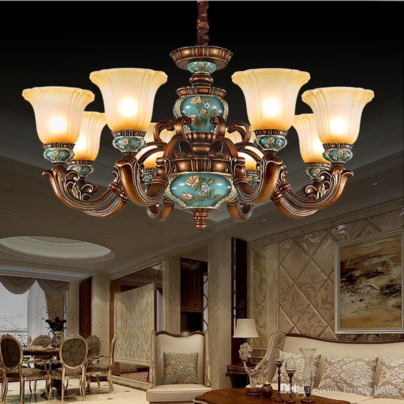 Europäische Atmosphäre Kronleuchter Wohnzimmer Kronleuchter Mode Hängeleuchten Retro Esszimmer Harz Kronleuchter Schlafzimmer LED Pendelleuchten