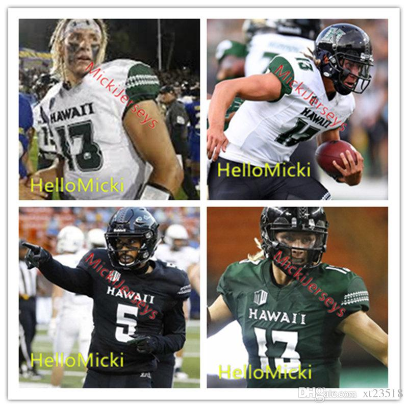 free shipping 7175d 5a906 2019 Custom NCAA Hawai'I Rainbow Warriors Football Jersey Cole McDonald  John Ursua Jahlani Tavai Noah Borden Elijah Dale Mel Davis Hawaii Jersey  From ...