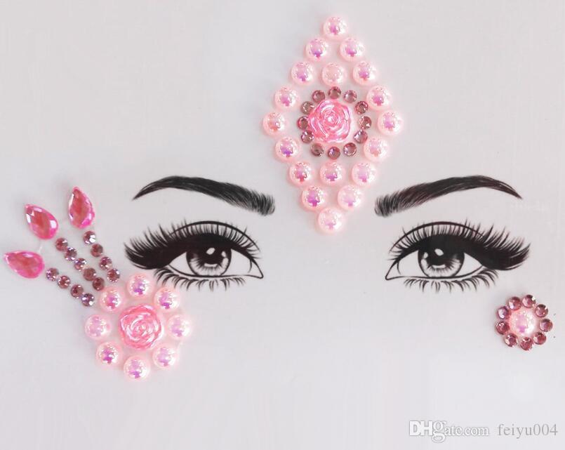 2019 Paragrafo 15 3D cristallo Gioielli del tatuaggio di scintillio del fronte Sticker donne Body Fashion Gems Gypsy Festival ornamento partito bellezza di trucco