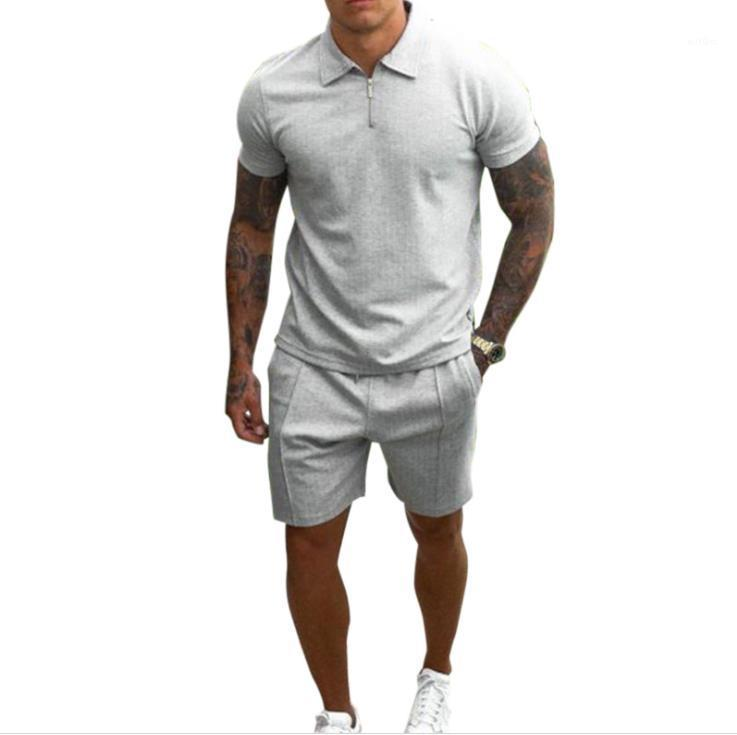 Solid Tracksuits Men Fashion Patchwort Zipper Lapel Neck Tshirts With Knee Length Suits Man Casual Loose Sets Mens Summer 2pcs