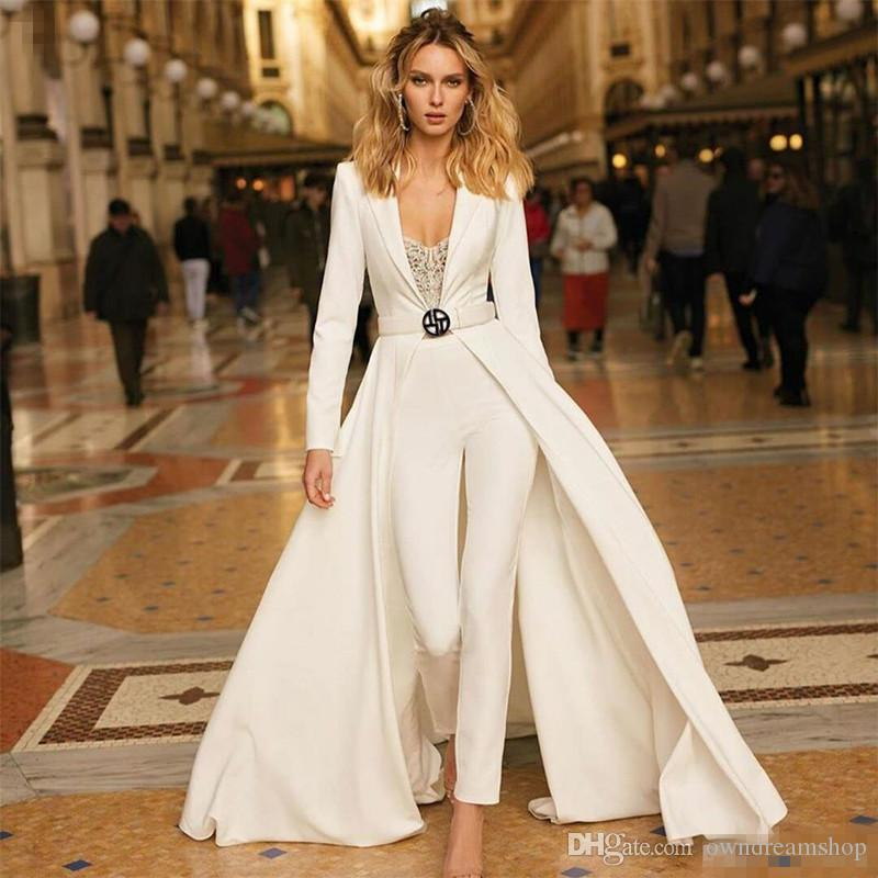 Berta 2019 Prom Dresses Sexy Deep V Neck Satin Pant Suits Long Sleeve Custom Made Evening Gowns Designer Party Dress