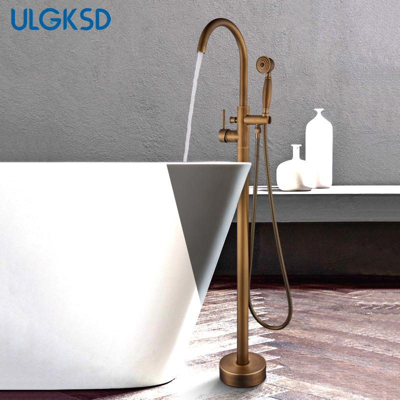 ULGKSD Single Tube Antique Floor Stand Faucet Floor Mounting W/ Brass Hand Shower Tub Spout Para Bathroom Shower Mixer Tap