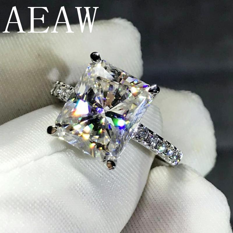 Aeaw 4ct, он имеет Лучистый вырезать ГХ обручальное муассанит кольцо в серебро 925 ювелирных изделий с бриллиантами для женщин против Ф драгоценных камней S328