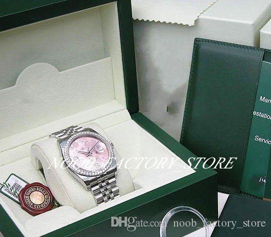새로운 공장 2813 자동 운동 36mm Womens WG 핑크 꽃 아라 # 116244 원래 상자 다이빙 시계와 함께 드레스 선물