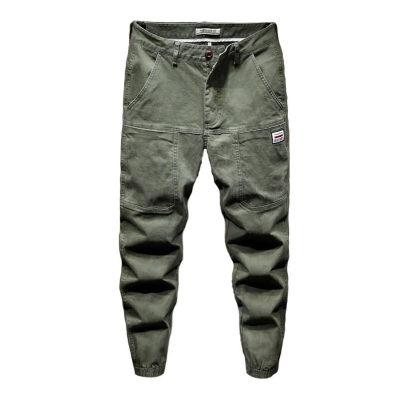 Mcikkny Hombres Caro casuales pantalones vaqueros de moda Streetwear Loose Fit Harem Pantalones para Hombre del basculador del tobillo elástico