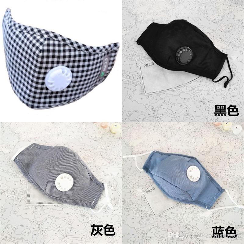 Masque de protection respiratoire du visage Valve civile peut Insérer un filtre Plaque respirateurs Bouche Masque Motif Plaid chaud 7 5JD Keep UU