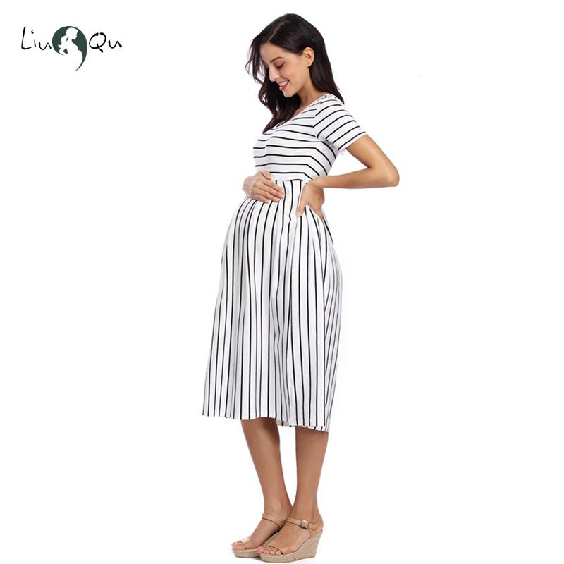 Women's Short Sleeve Maternity Dresses Striped Casual Summer Knee Length Pregnancy Clothes Ruched Fitted Pregnant Bodycon Dress SH190917