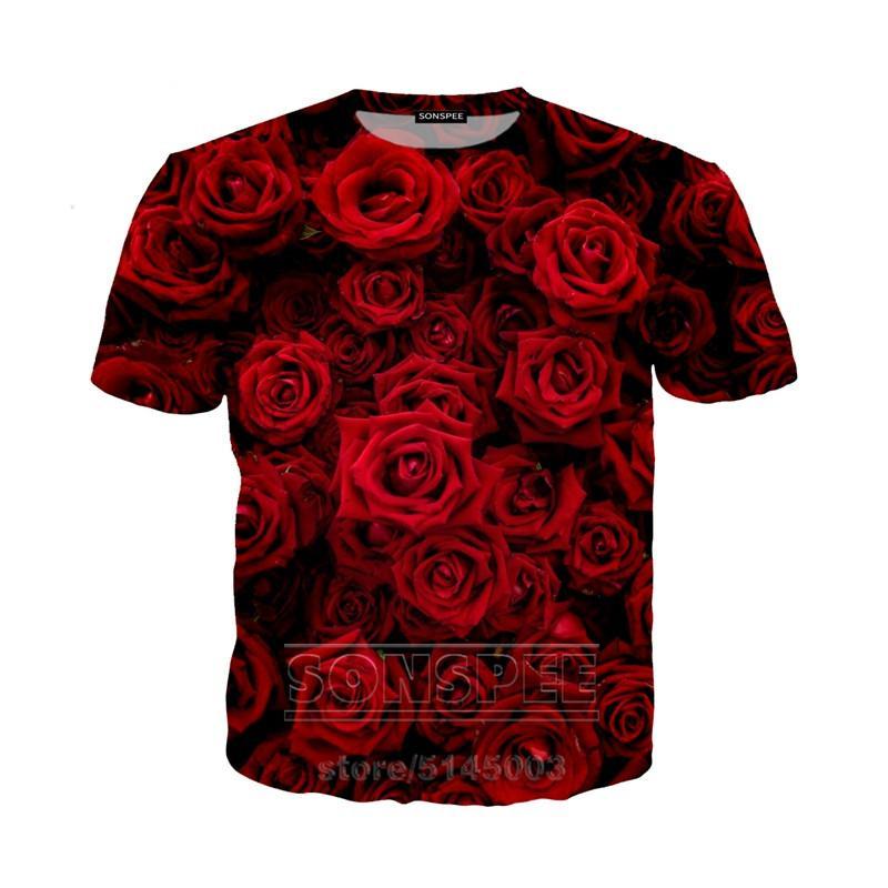 Rose camiseta de Verano Hombres Mujeres camiseta de la impresión 3D Hip Hop Flores manga corta Streetwear Tops O cuello jersey K1401