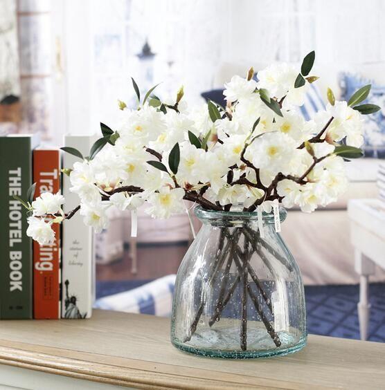Artificiale falso Cherry Blossom fiore di seta nuziale Ortensia Home Decor bianco GA729