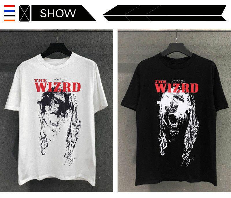 designer de moda europeus e hip-hop americano T-shirt da marca maré RHUDE Futuro x monstro Merch T-shirt de rua de alta qualidade
