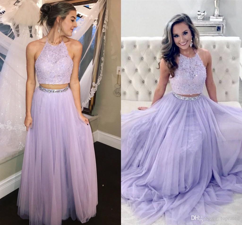 2020 Generoso Lavender duas partes Prom Dresses Halter Lace Tulle Andar de comprimento Backless Vestidos de noite com Beading