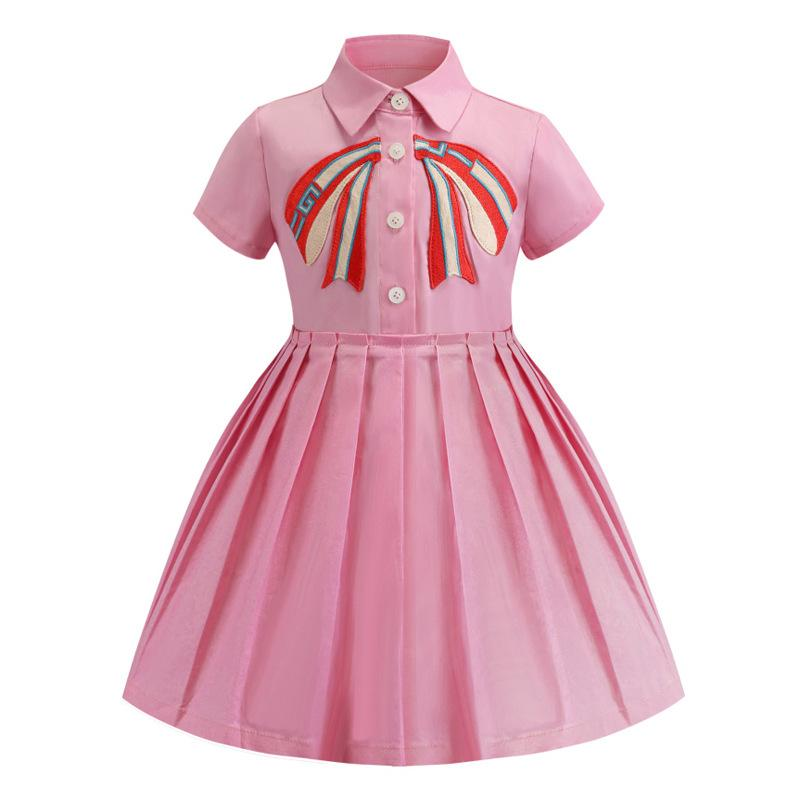 Retail baby girl dresses 2019 embroidered lapel short sleeve cotton pleated skirt dress kids designer clothes children boutique clothing