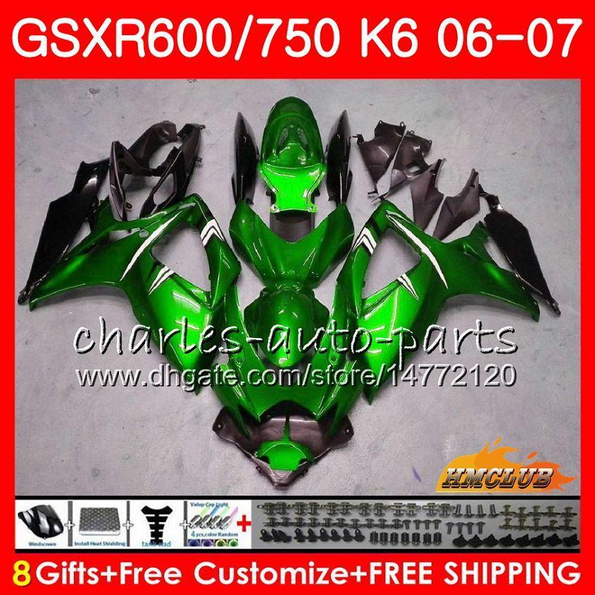 Body For SUZUKI GSX R600 GSX-R750 GSXR-600 GSXR600 06-07 8HC.28 GSX R750 GSXR 600 750 glossy green 06 07 K6 GSXR750 2006 2007 Fairing kit