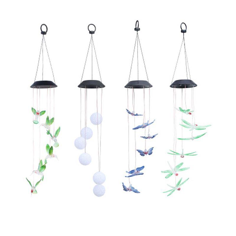 태양 나비 램프 LED 벌새 빛 바람 차임 라이트 램프 방수 친환경 바람 차임 홈 정원 장식 파티 용품