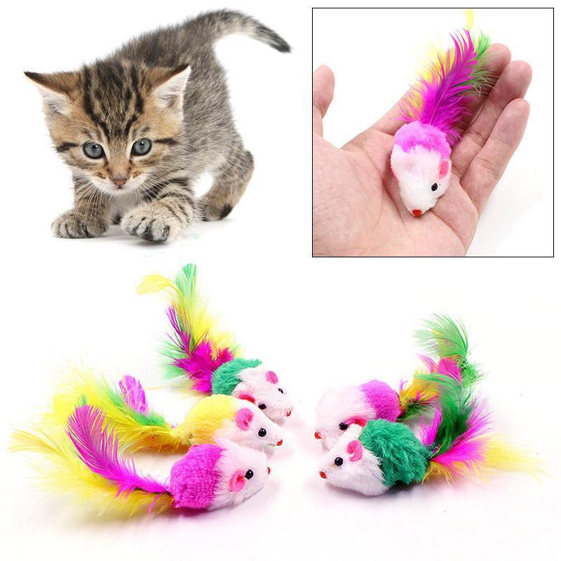 Cat mouse giocattoli colorati cani divertente che gioca molle variopinta False mouse Giocattoli cucciolo del gatto del giocattolo della coda della piuma del gattino Piccolo mouse Giocattoli BH2841 TQQ