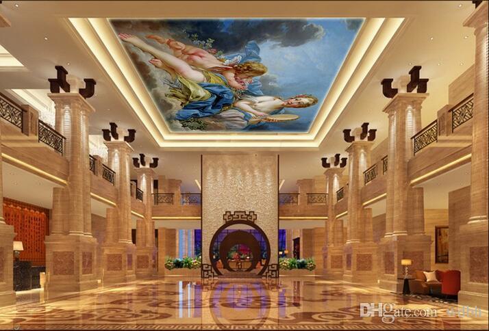 Murales de techo 3D wallpaper foto personalizada Europea hermosa hada y ángel decoración para el hogar sala de estar murales de pared 3d wallpaper para paredes 3 d