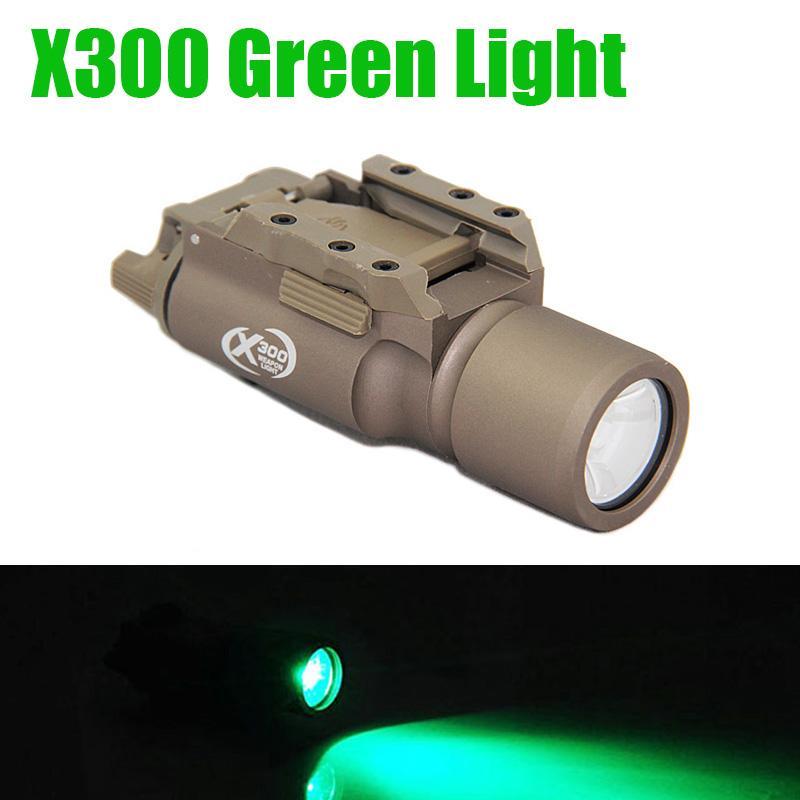 Taktik SF X300 Gun Işık 400 lümen Çıkışı Yeşil Işık Av Tüfek Tabanca Hafif Alüminyum Alaşım İnşaat LED
