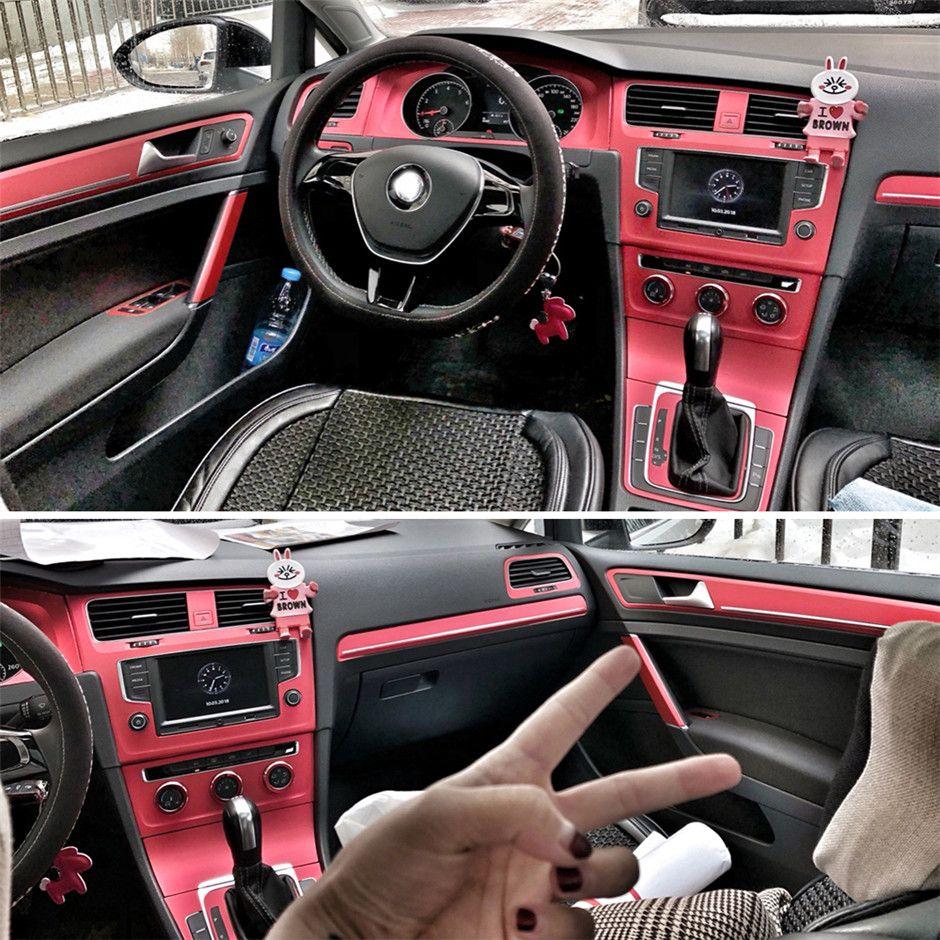 Sport Interior Red Carbon Fiber Protección Pegatinas Fibra Calcomanías Auto Car Styling para VW Volkswagen Golf GTI 7 MK7 Accesorios