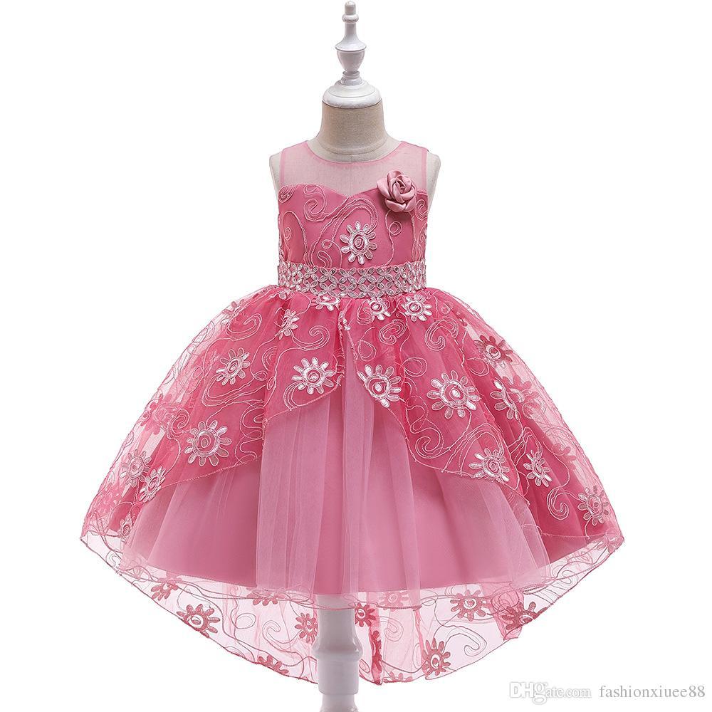 Nuevo vestido de las muchachas de flor del vestido de fiesta sin mangas bajo alto para los vestidos de la comunión del cordón de la boda Vestidos de fiesta de la muchacha de los niños